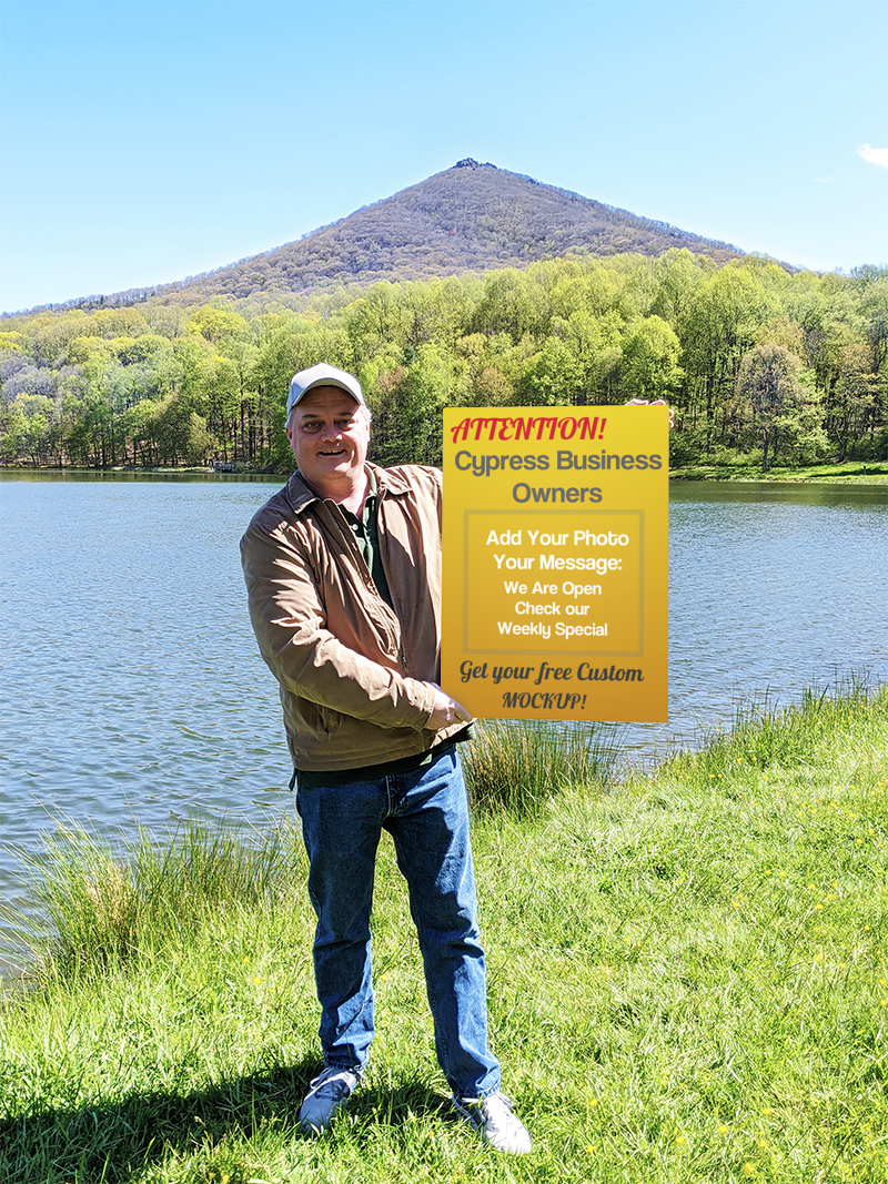 Business Owner With Sign Photo Mock UP At Lake